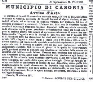 ASTA CASORIA DEL 1877 SINDACO ACHILLE DEL GIUDICE