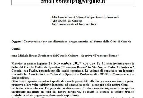 Riceviamo e pubblichiamo. Michele Bruno: Appello ai Cittadini di Casoria alle Associazioni – Commerciati – Imprenditori e OO.SS.