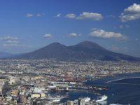 Italy, Campania, Naples, the Harbour and Vesuvius Volcano