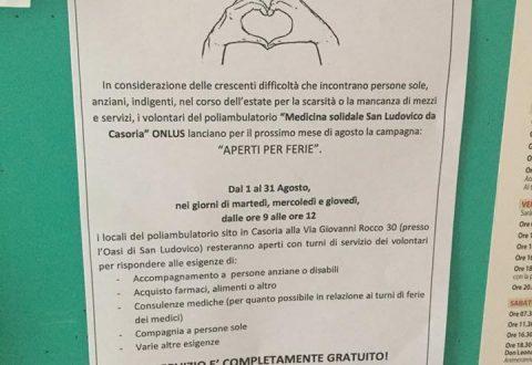 """""""Aperti per ferie"""",la campagna estiva della Onlus San Ludovico da Casoria"""