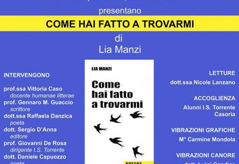 """""""Come hai fatto a trovarmi"""" presentazione oggi del libro di Lia Manzi"""