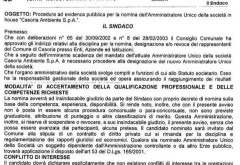 Casoriambiente: pubblicato il 10 agosto il bando per una nomina nella società, scadenza termini per la presentazione delle domande… Dopo 20 giorni…