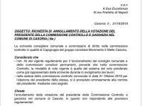 Elezione Presidente Commissione Controllo: richiesta di annullamento dei 5 Stelle.