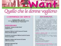 """Partito il progetto  """"What Woman Want"""" Conferenza dei servizi martedi 4 febbraio 2020 ore 10.00 presso la Biblioteca Comunale di Casoria in via Aldo Moro, 26"""