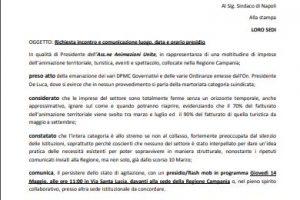 Riceviamo e pubblichiamo. Consorzio Animazioni Unite: Richiesta di incontro al Presidente della Campania Vincenzo De Luca.