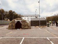 Casoria: Allestimento Drive-through-Difesa, l'esercito in supporto delle Asl locali.